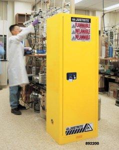 ארונות בטיחות justrite לאחסון כימיקלים וחומרים מסוכנים